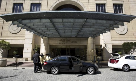 The Michelangelo Towers hotel in Johannesburg, where former colonel Patrick Karegeya was found dead. Photograph: Alexander Joe/AFP/Getty Images